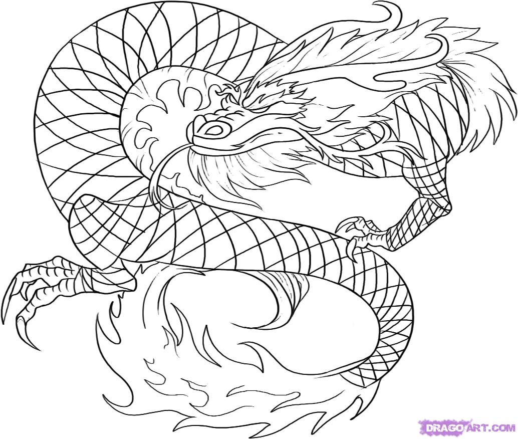 1034x876 Chinese Dragon Line Drawing How To Draw A Red Chinese Dragon, Step