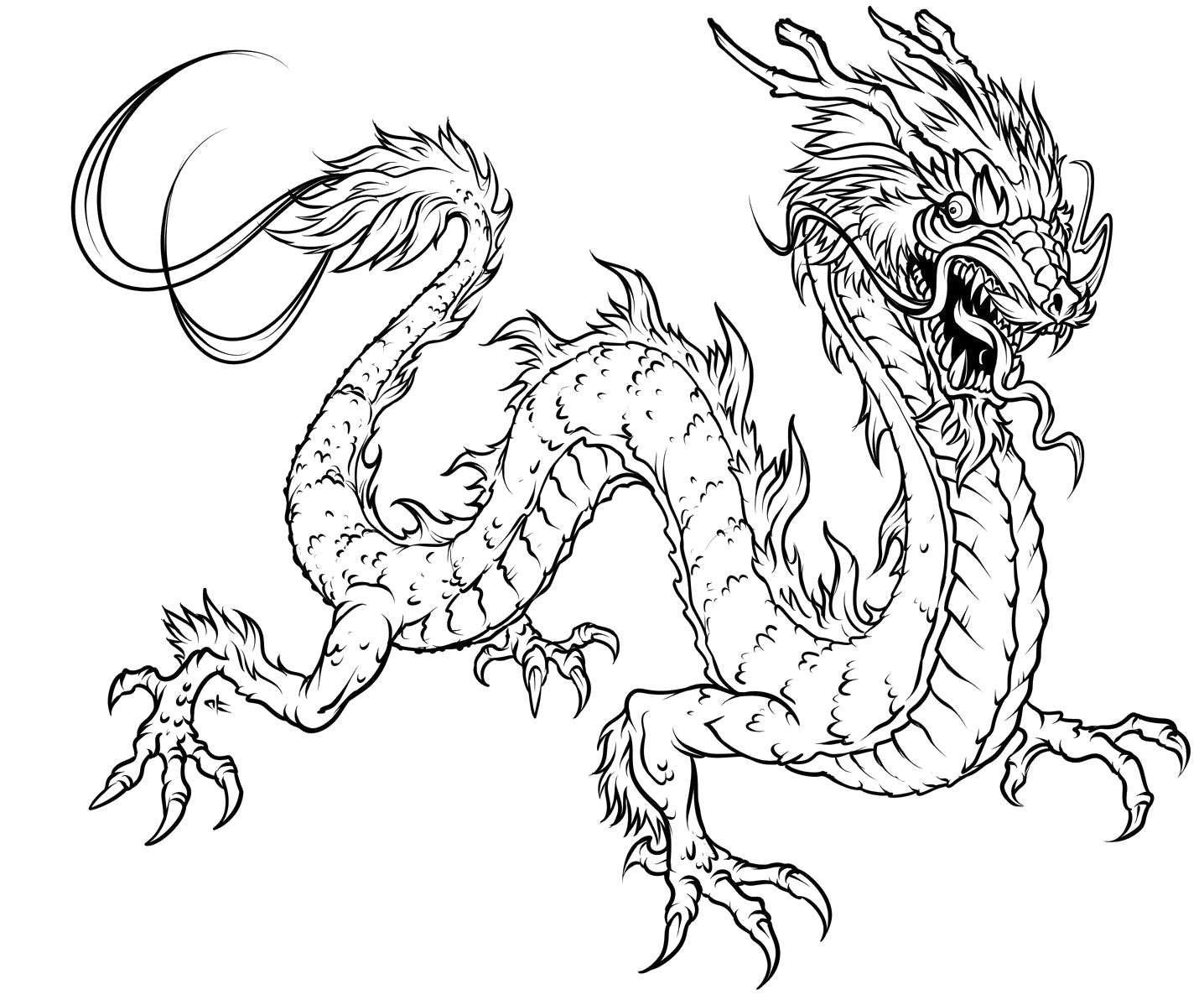 1436x1192 Dragon Head Coloring Pages