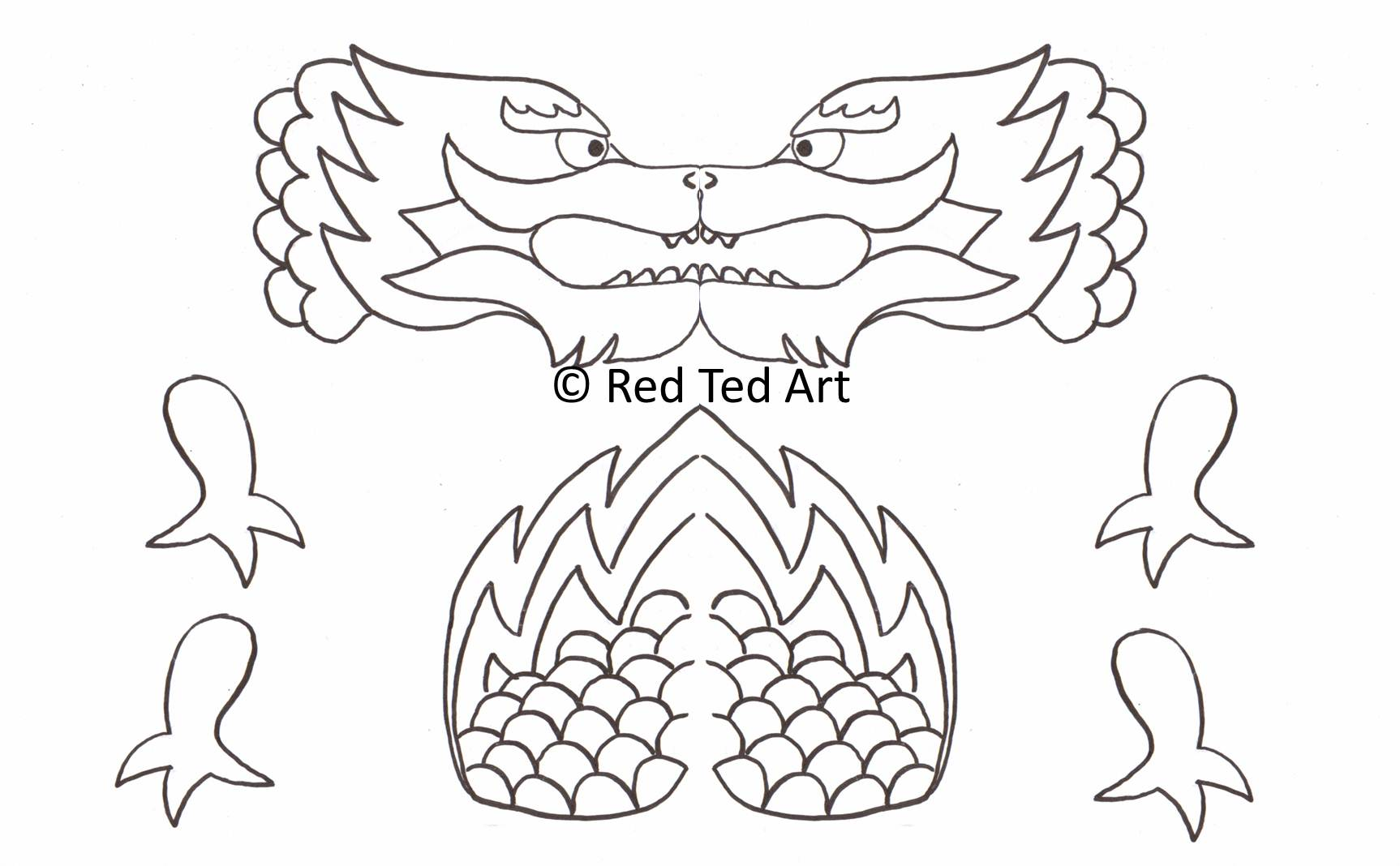 Page New Year Dragon Drawing Coloring 1 1726x1068 Drawn Chinese Printable