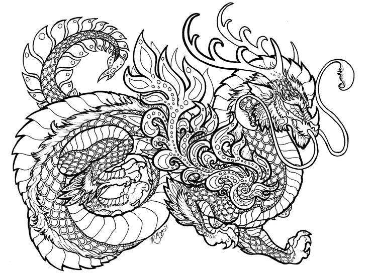 736x546 Drawn Chinese Dragon Zentangle