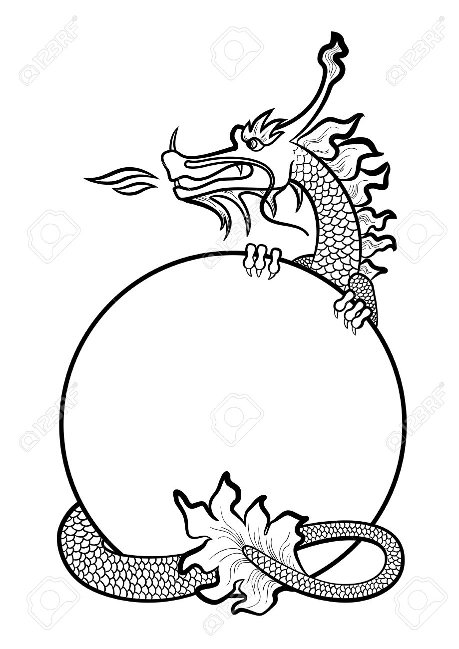 919x1300 Illustration Of A Hand Drawing Chinese Dragon Royalty Free