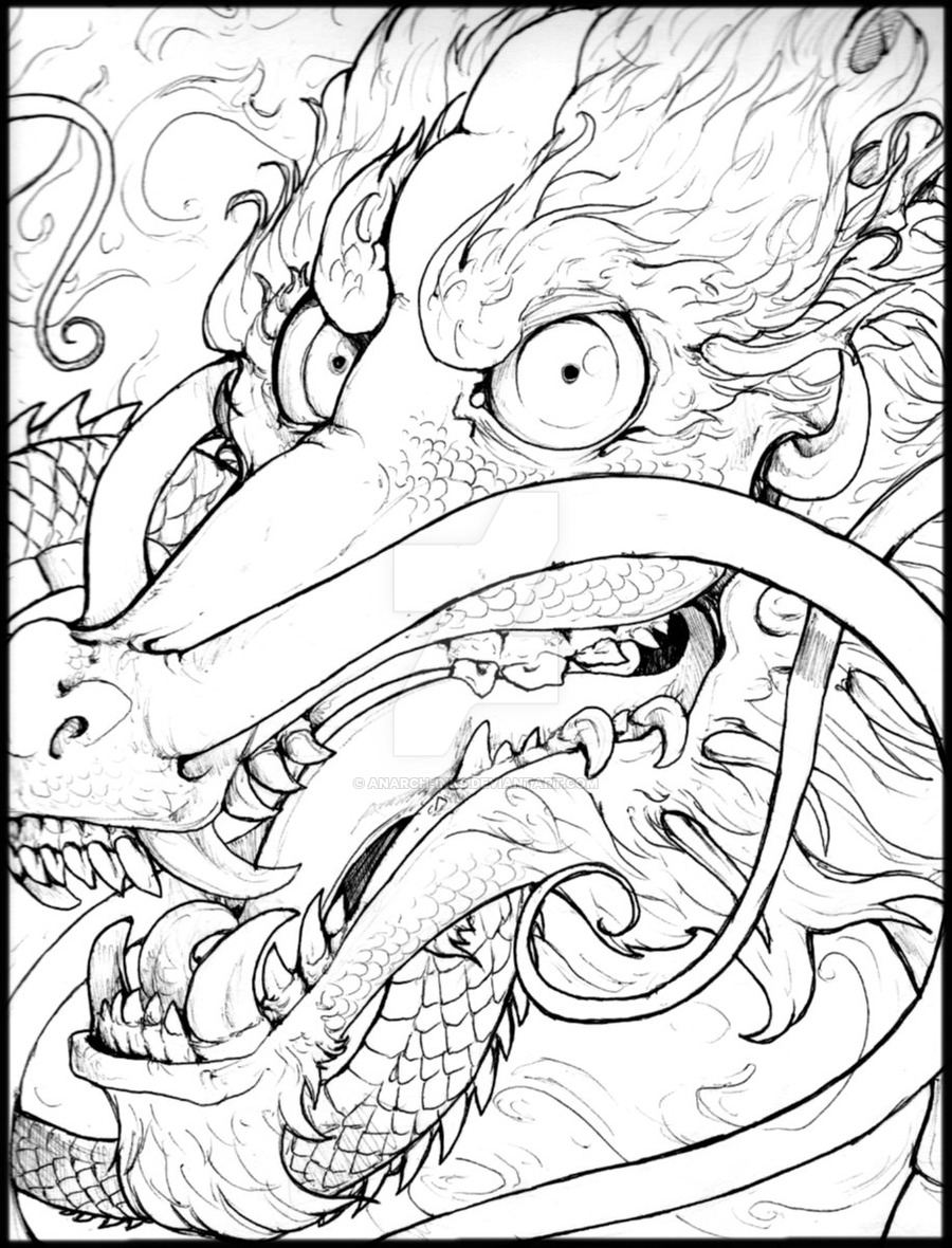 900x1180 Chinese Dragon Ink Face By Anarch Inks