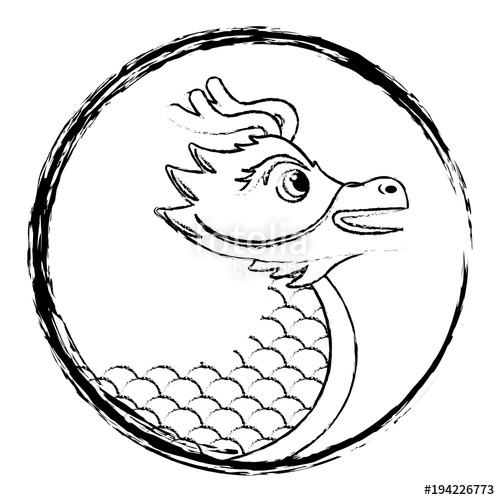 500x500 Drawing Red Chinese Dragon Symbol Vector Illustration Sketch Style