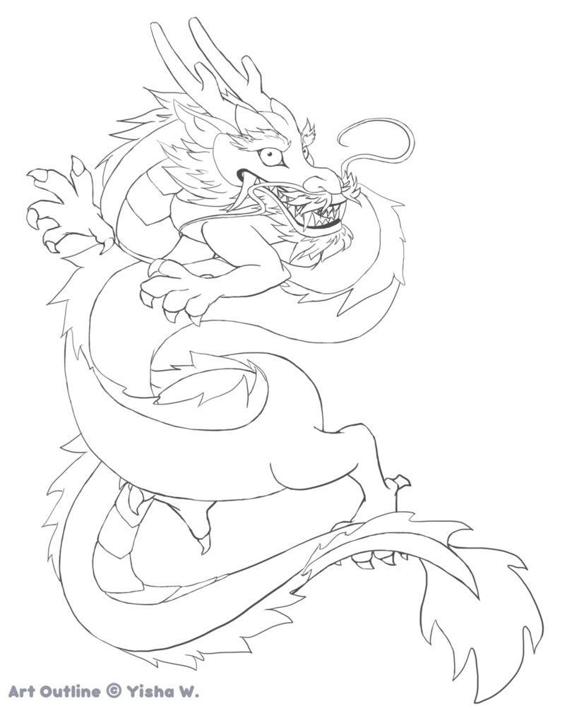 800x1000 Chinese Dragon Outline By Hellopandagirl