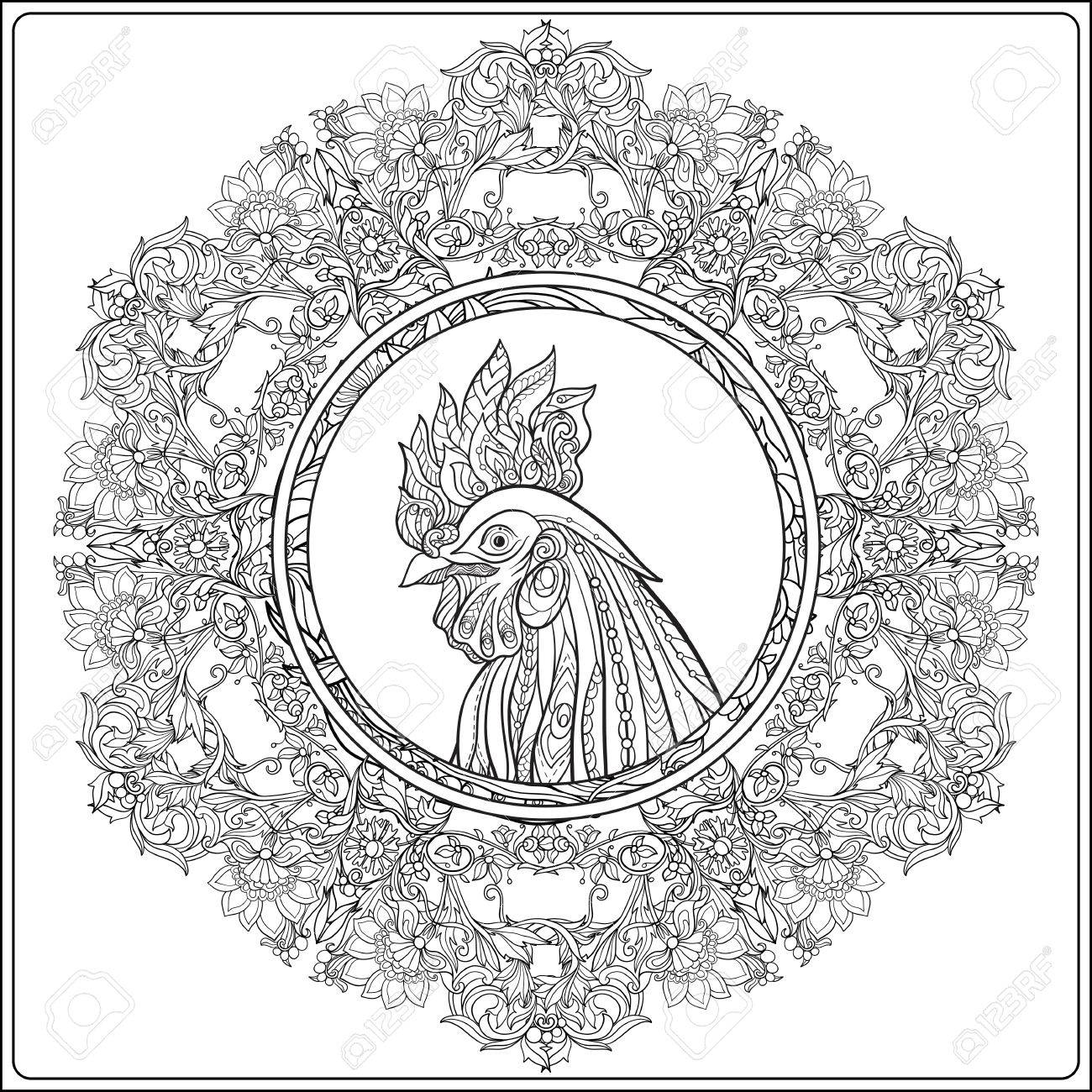 1300x1300 Decorative Rooster In Vintage Floral Decorative Frame. Chinese