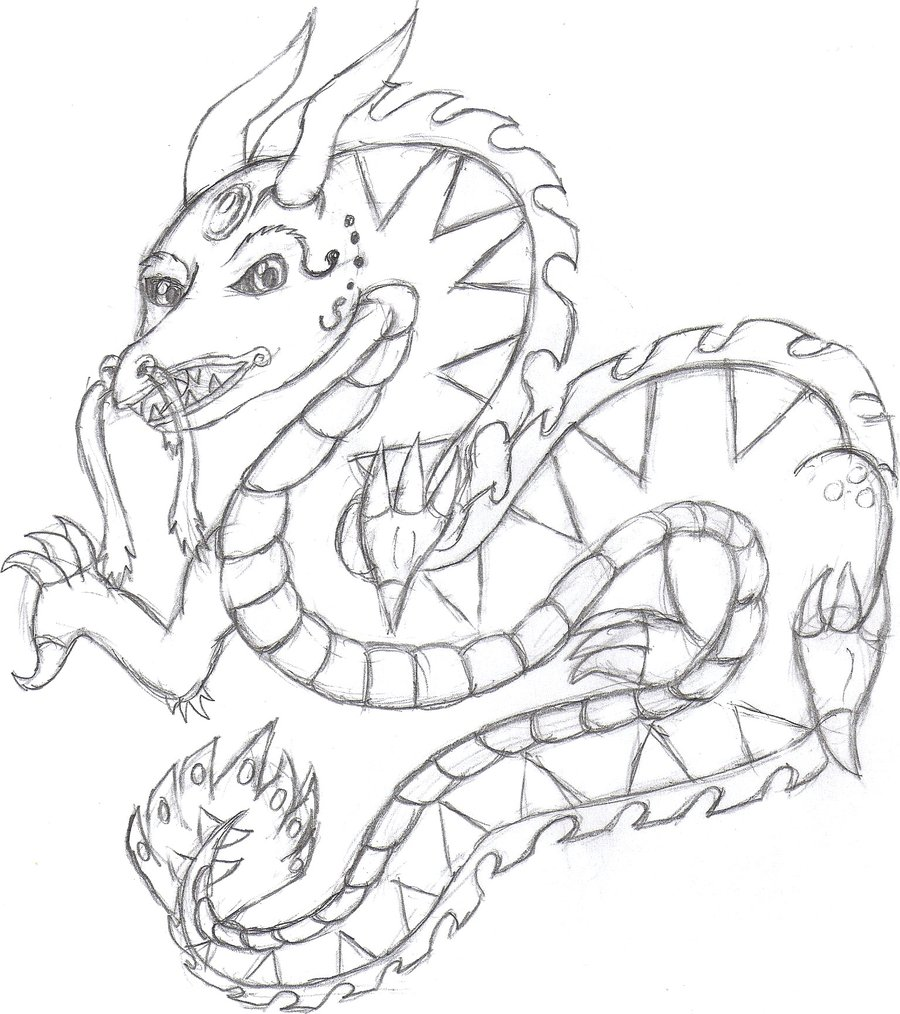 900x1014 Chinese Dragon Sketch By Glaciethewolf