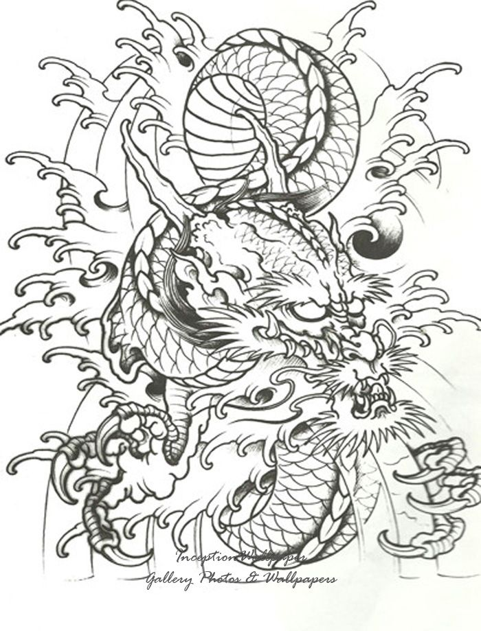 700x919 Collection Of Black Grey Chinese Dragon Tattoo Design