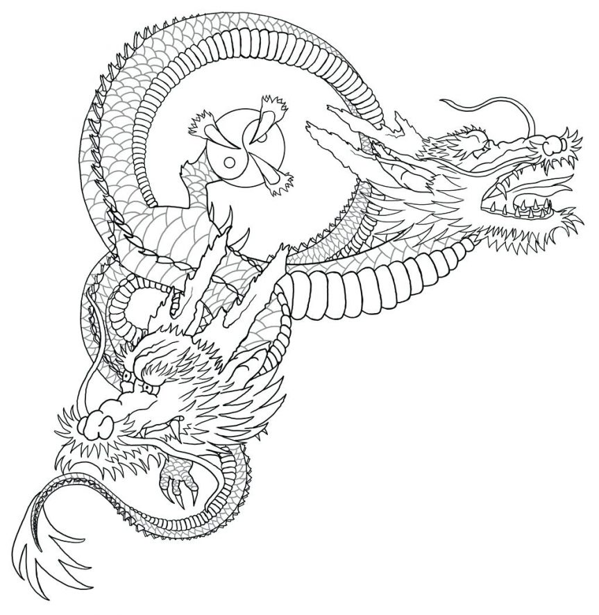 863x886 Dragon Outline By Koi Fish Drawing Chinese Tattoo Pics Dragon