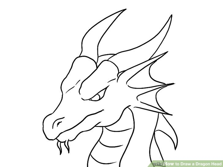 728x546 Drawn Chinese Dragon Head