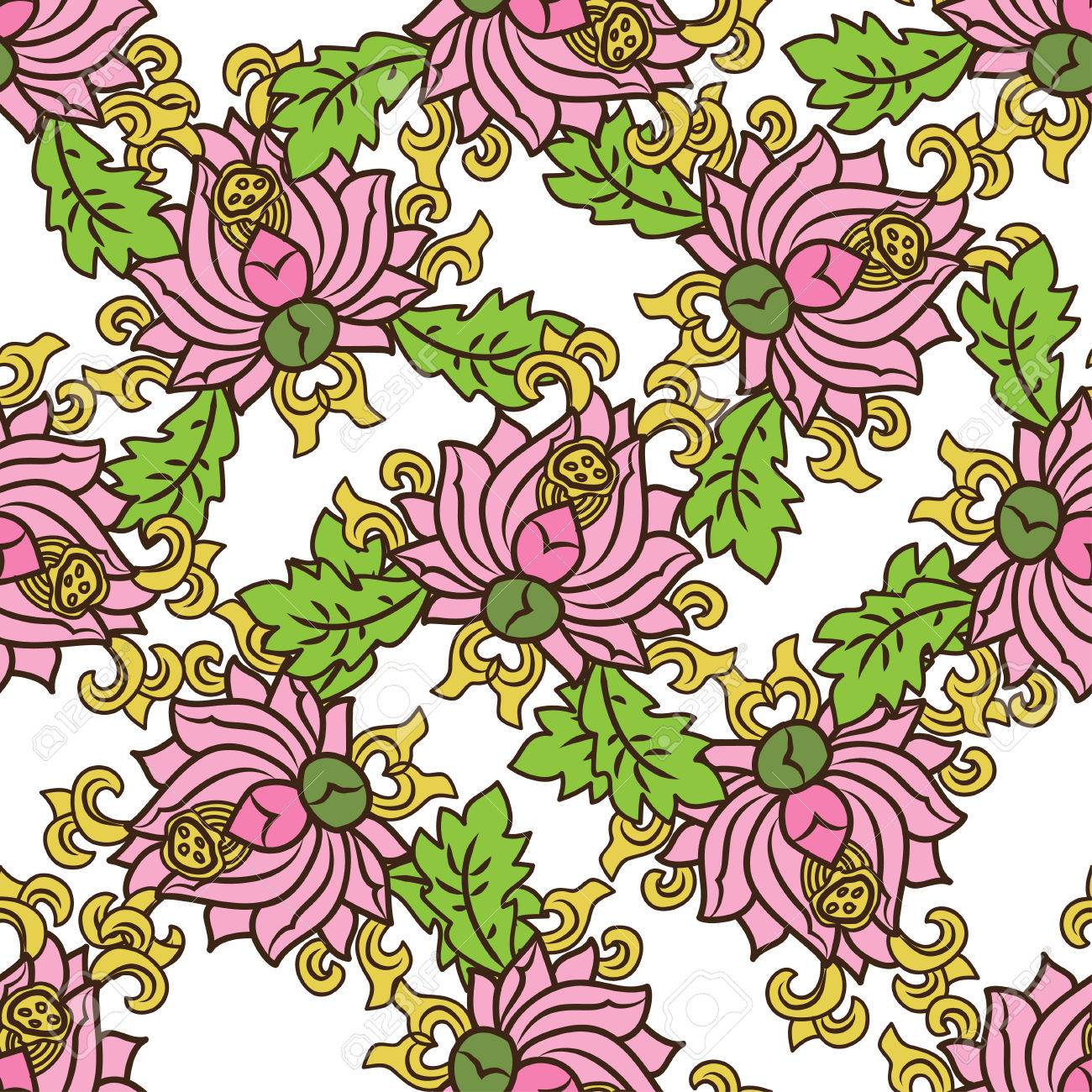 1300x1300 Chinese Traditonal Seamless Pattern With Pink Flowers On White