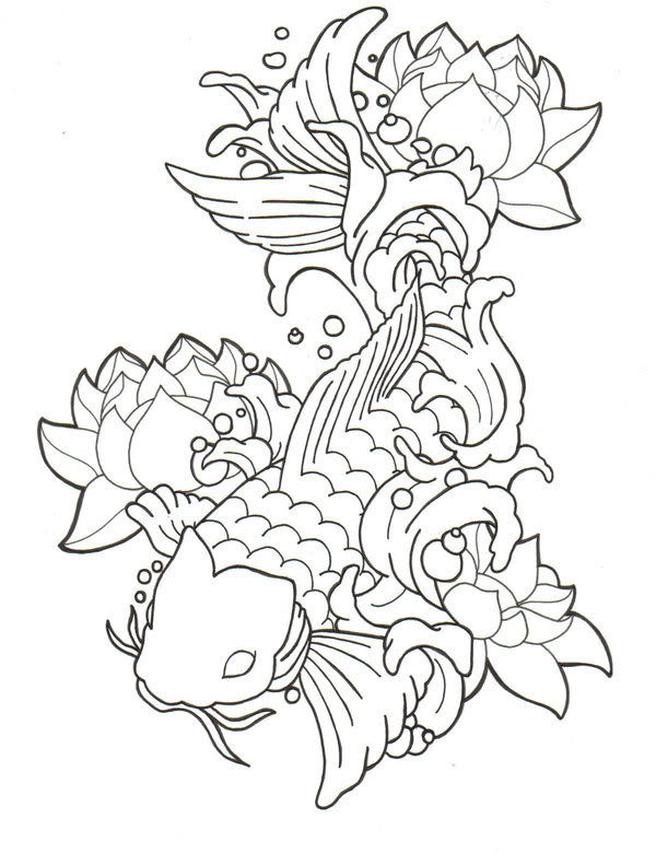 600x791 Collection Of Koi Fish And Lotus Tattoo Sketch