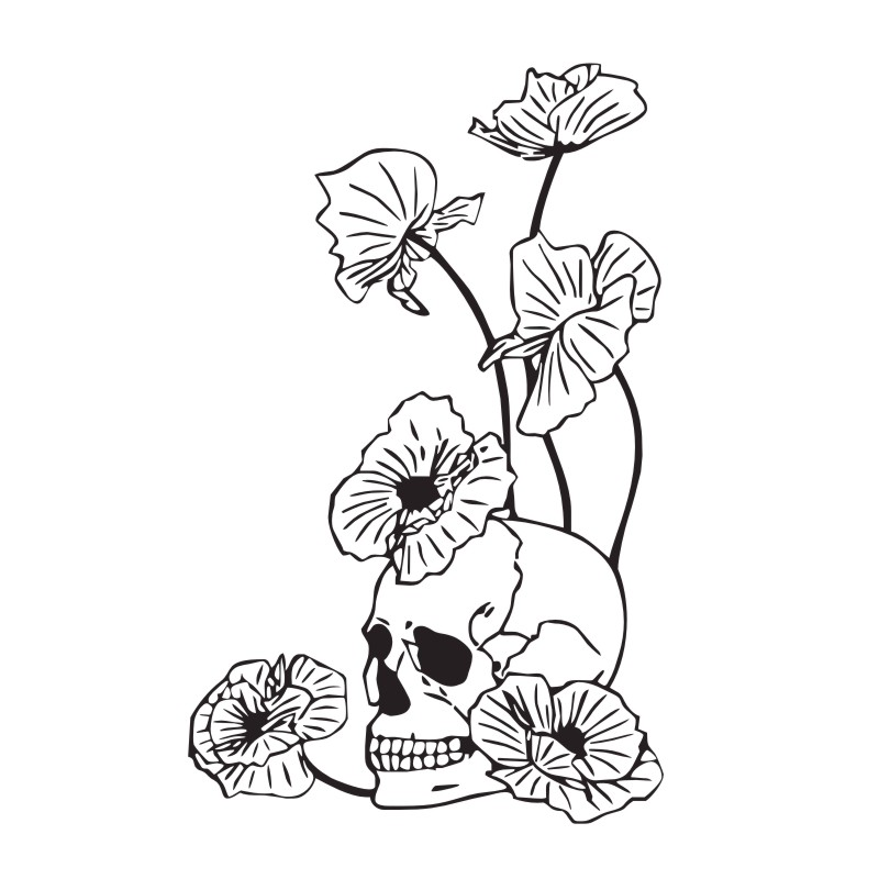 800x800 Dangerous Flowers And Skull Wall Stickers Home Decor Vinyl Art