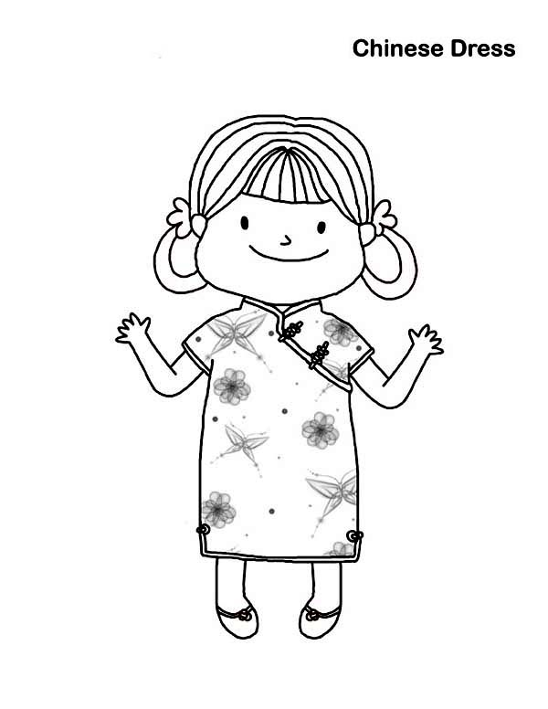 600x776 Little Girl Wearing Chinese Dress In Chinese Symbols Coloring Page