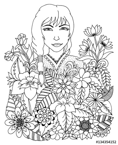 406x500 Vector Illustration Zentangl Portrait Of Chinese Girl In Flowers