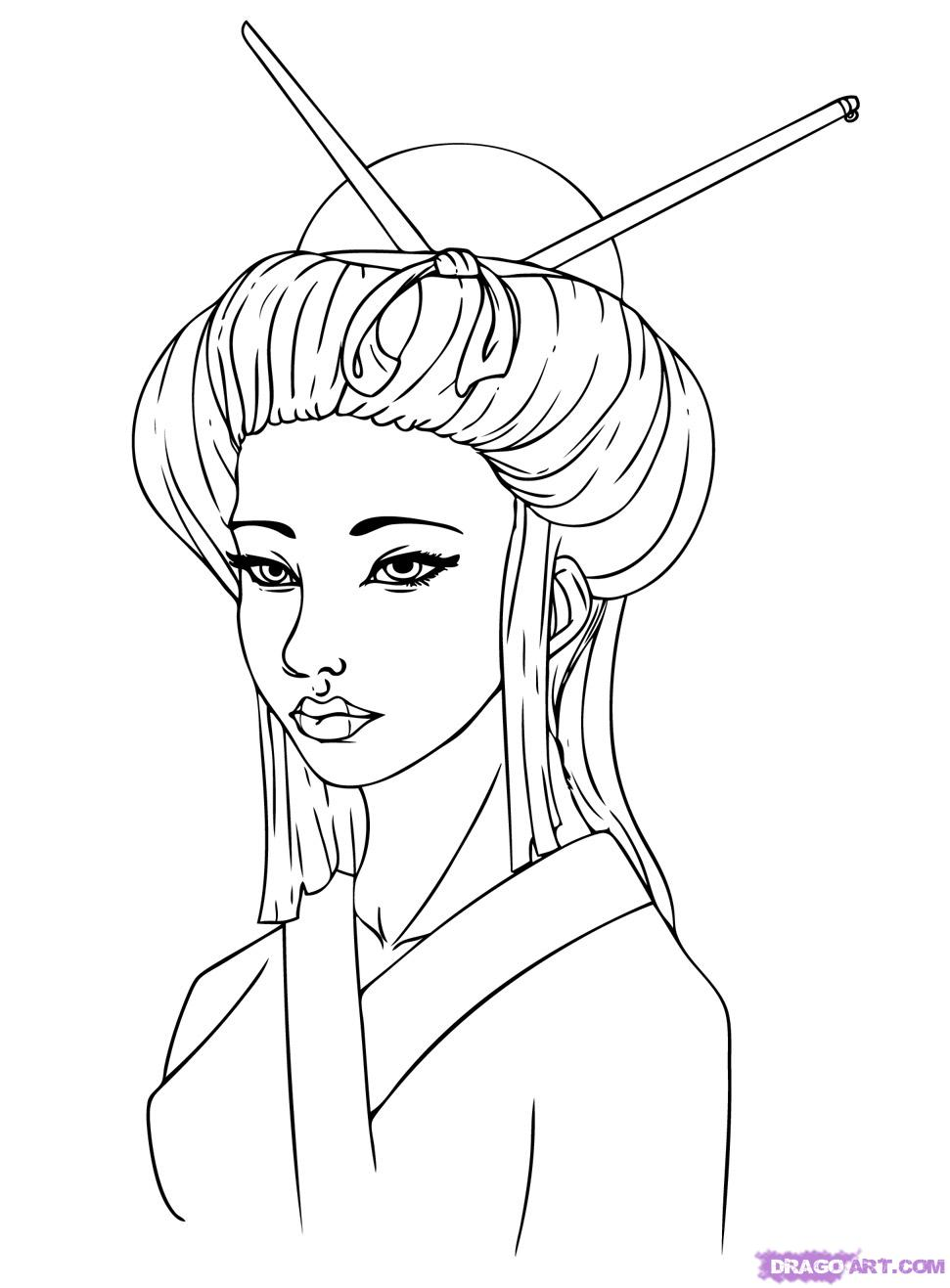 971x1317 Geisha Coloring Black And White