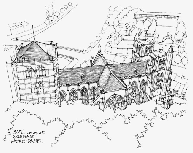 650x518 Hand Painted Landscape Architectural Draft, Line Drawing