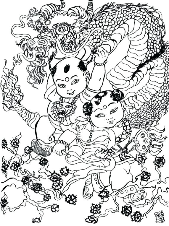 571x765 China Coloring Pages Adult Coloring Page Dragon Dance China Flag