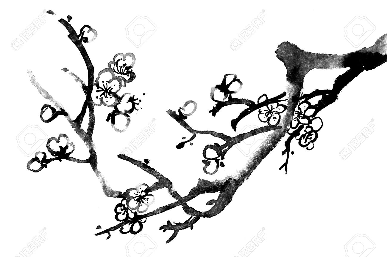 1300x866 Chinese Black And White Traditional Ink Painting, Plum Blossom