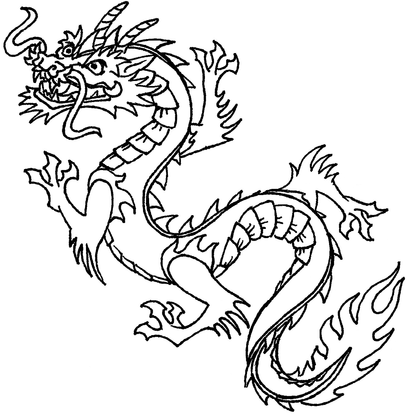 New Year Coloring Pages 1341x1363 Chinese Dragon Clipart Black And White