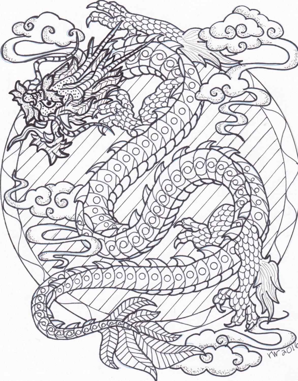 1173x1500 Drawn Chinese Dragon Zentangle