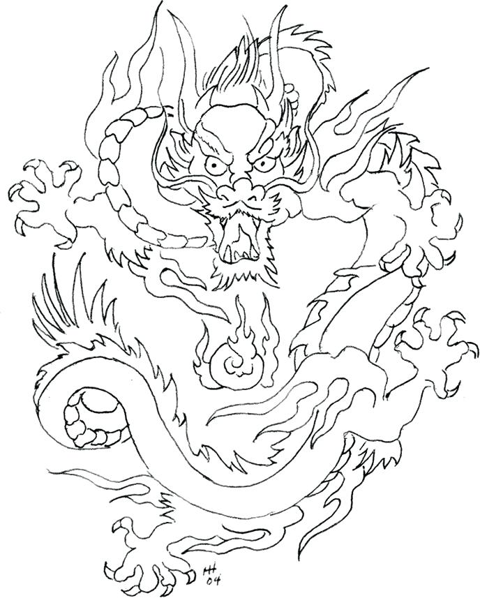 688x857 Dragon Head Coloring Page Drawn Dragon Printable 1 Chinese Dragon