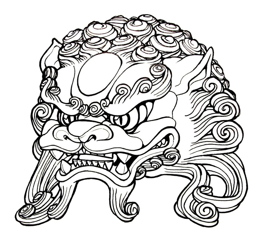 Chinese Lion Head Drawing At Getdrawings Free For Personal
