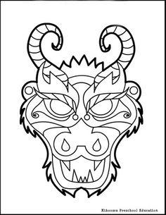 chinese dragon mask coloring page photos ncsudan