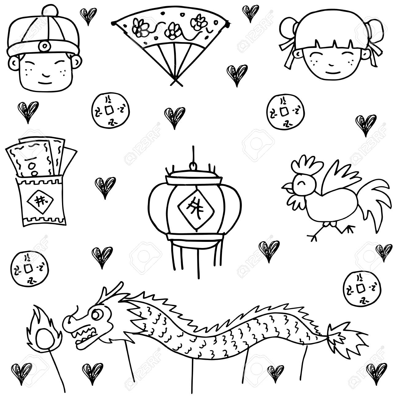 1300x1300 Hand Draw Of Chinese New Year Doodle Royalty Free Cliparts