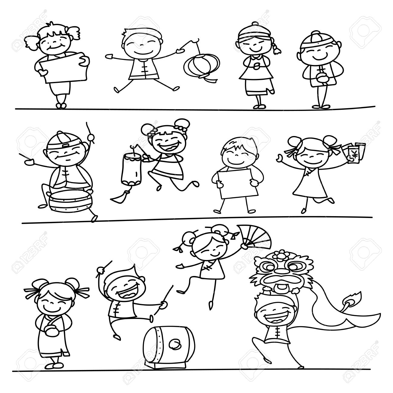 1300x1300 Hand Drawing Chinese New Year Cartoon Character Happy People