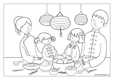 460x325 Chinese New Year Dinner Colouring Page