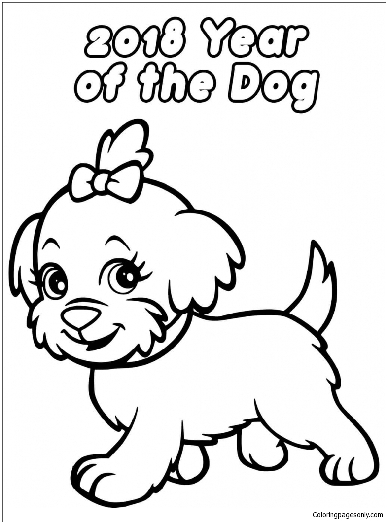 787x1063 Chinese New Year Dog Coloring Page
