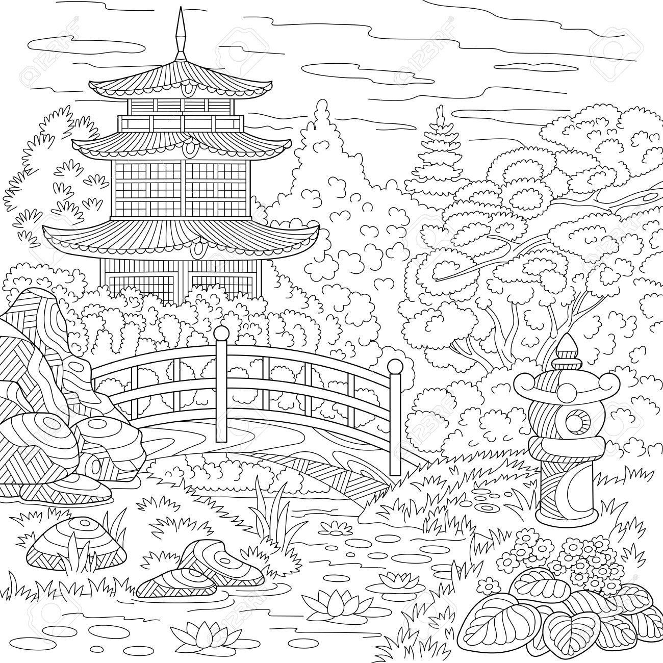 Chinese Pagoda Drawing