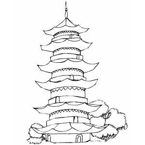 300x300 Pagoda Coloring Page Chinese Pagoda Drawings