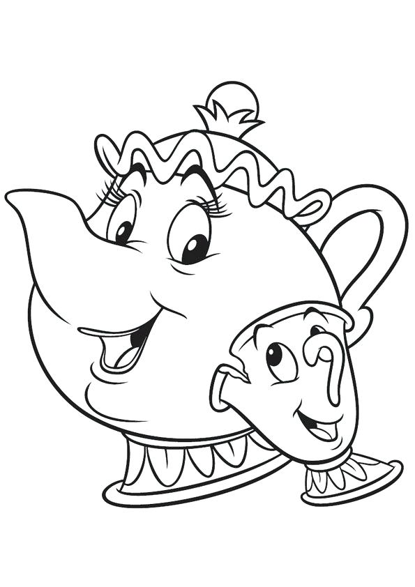595x842 Mrs Potts Coloring Page Coloring Pages For Kids Chip And Mrs Potts
