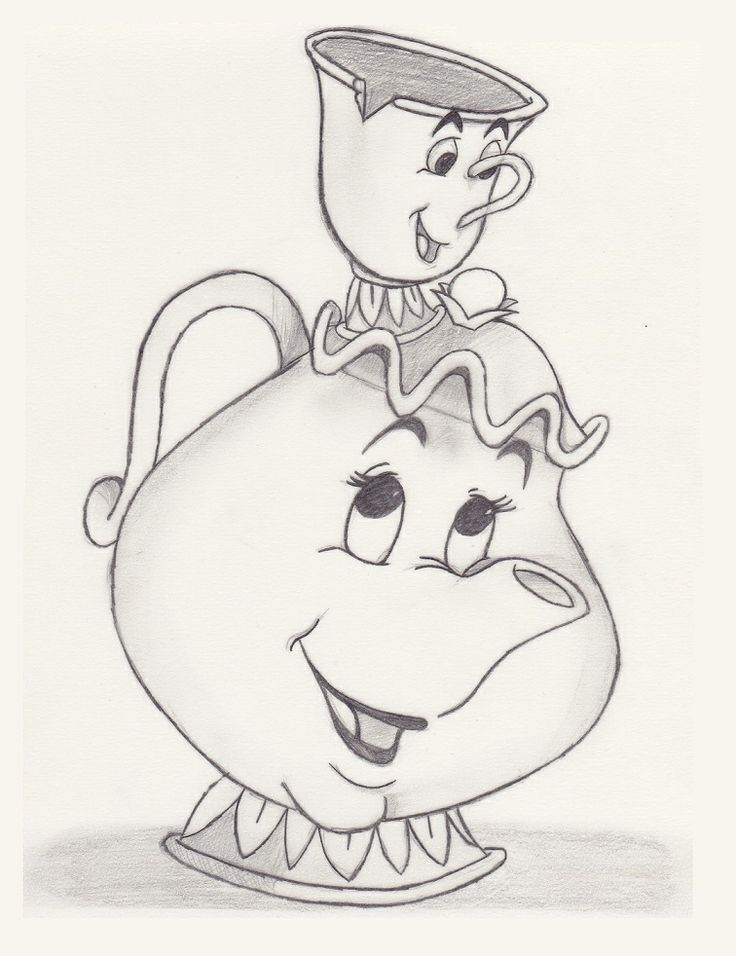 736x956 Chip And Mrs.potts Drawing In Pencil Sketching