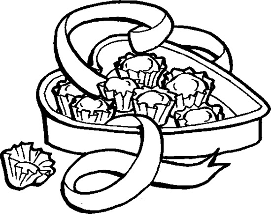 550x435 Chocolate In The Heart Box Coloring Page Chocolate