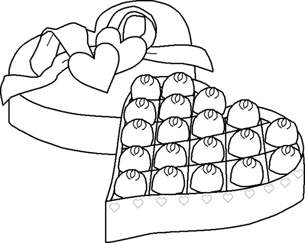 600x478 An Open Box Chocolate Coloring Page Chocolate Box
