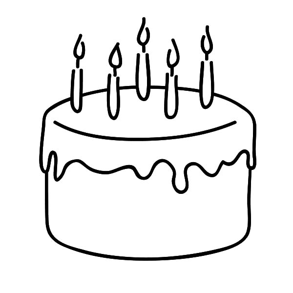 600x600 Chocolate Cake For Celebrate Five Year Old Kid Coloring Pages