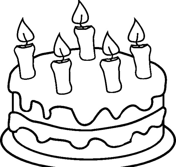 600x571 Chocolate Cake With Five Candles Coloring Pages