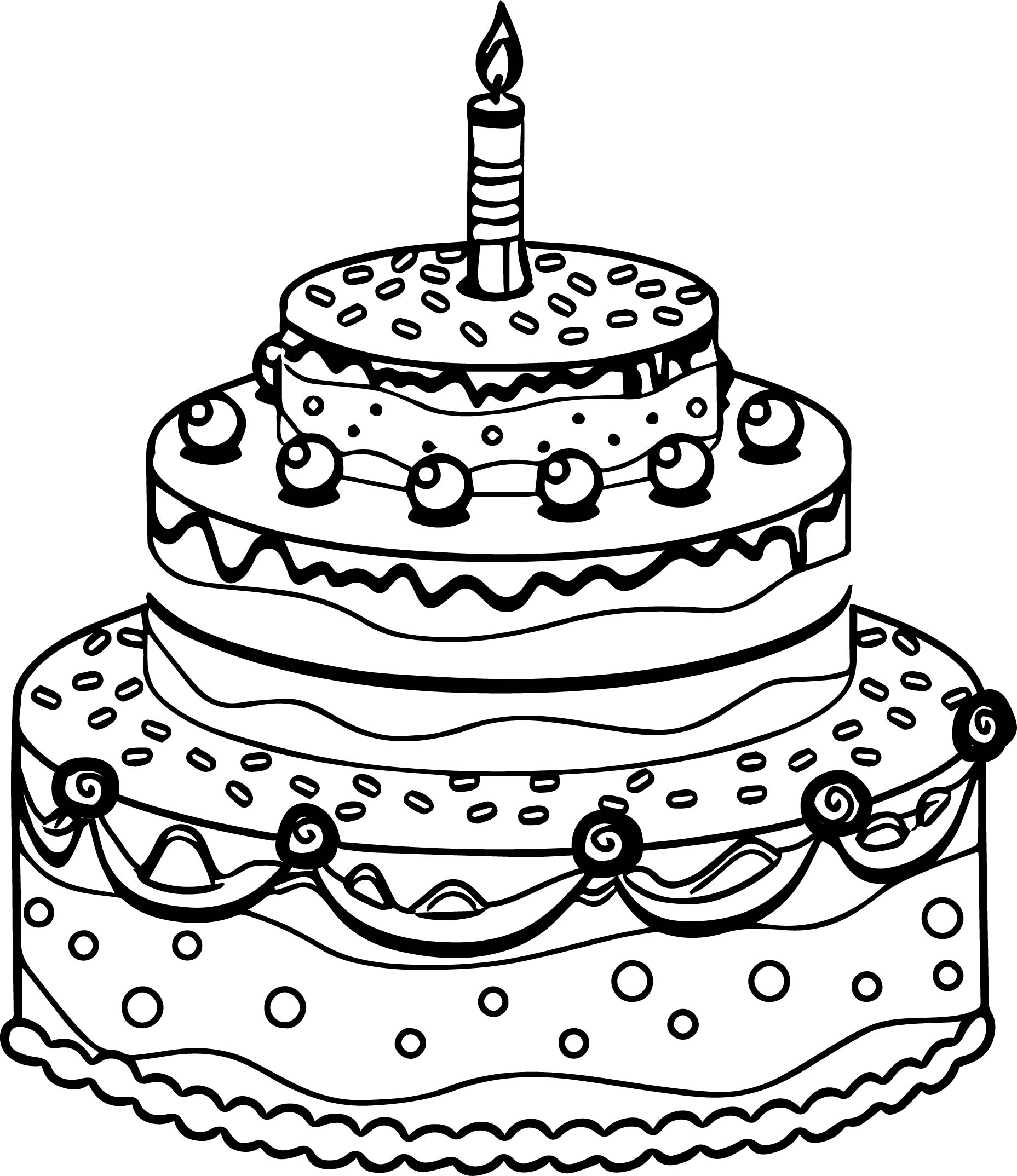 1857x2148 Coloring Pages Birthday Cake To Color Birthday Cake To Color