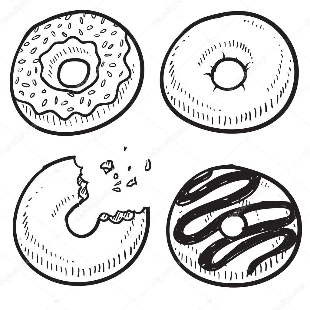 1024x1024 Donut Or Doughnut Sketch Stock Vector Lhfgraphics