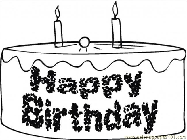 650x487 Happy Birthday Chocolate Cake Coloring Page