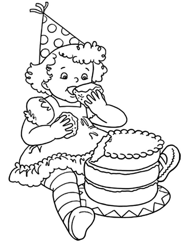 600x769 Little Birthday Girl Eat Chocolate Cake Coloring Pages