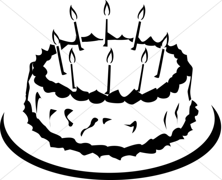 776x629 Simple Black And White Birthday Cake Church Birthday Clipart