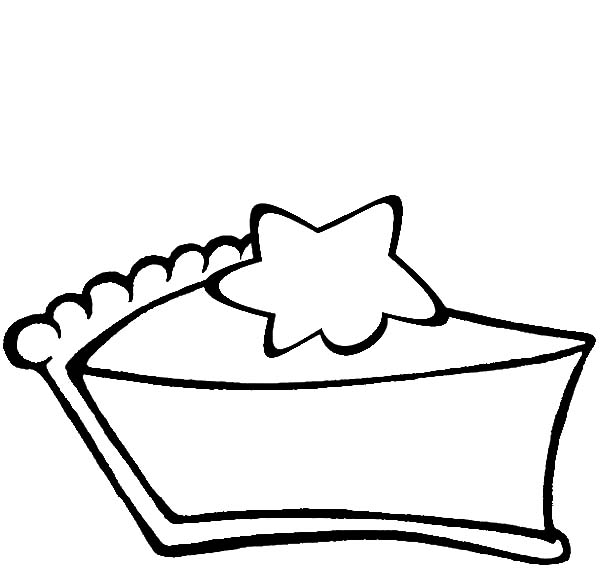 600x572 Slice Of Chocolate Cake With Star On It Coloring Pages