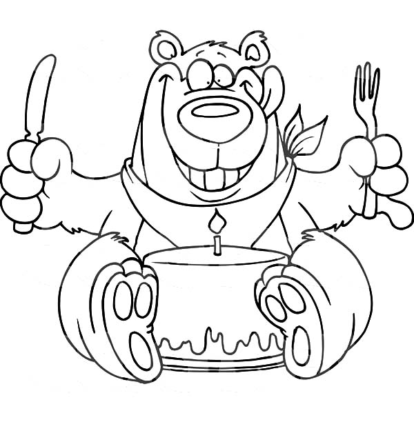 600x612 Birthday Bear Eating Chocolate Cake Coloring Pages