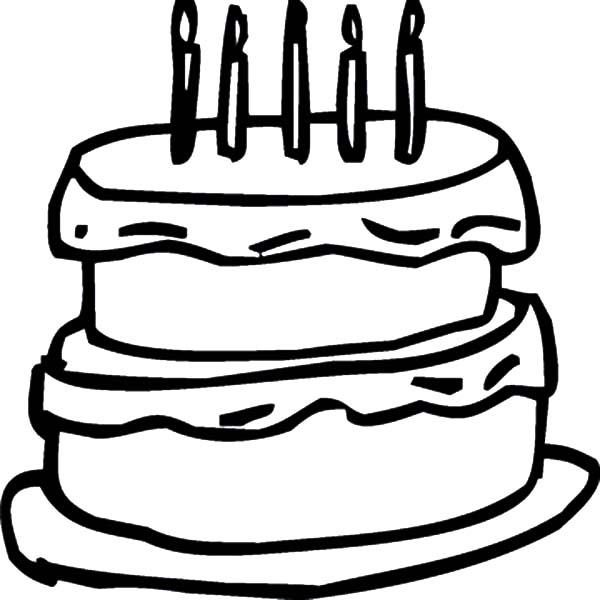 600x600 Birthday Cake Outline Coloring Pages