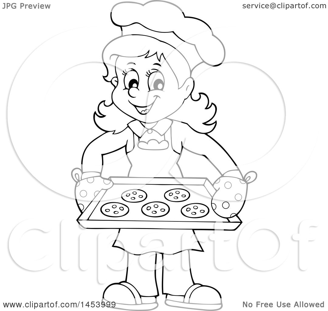 1080x1024 Clipart Of A Black And White Lineart Happy Woman Baking Chocolate