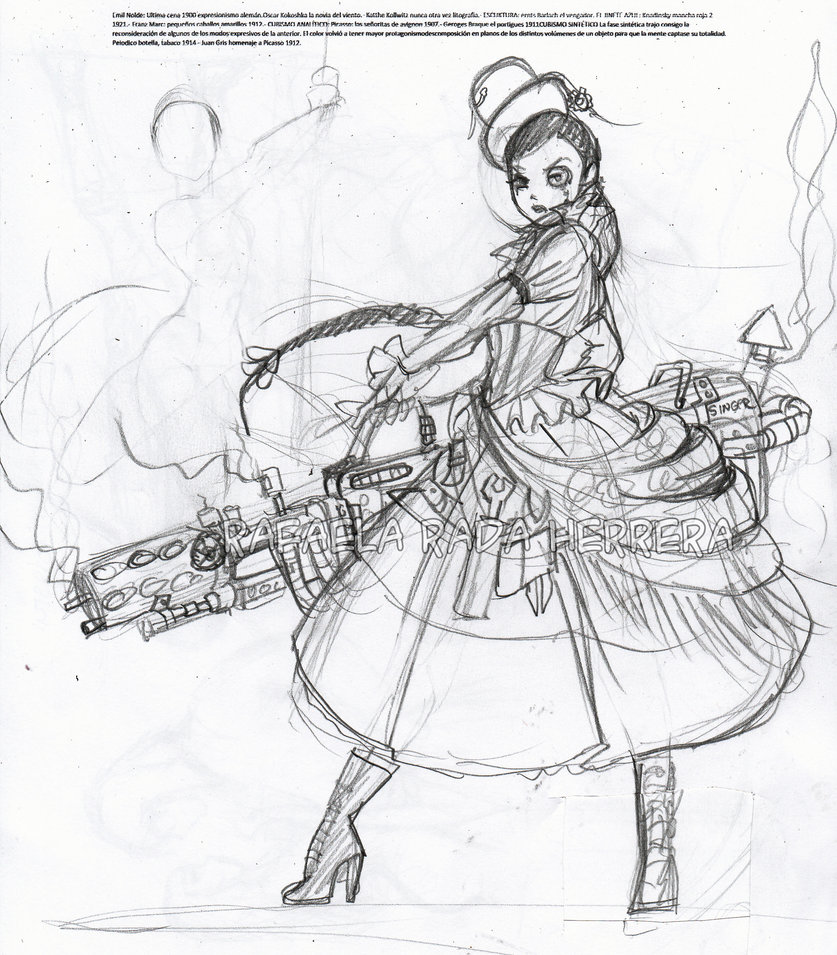 837x955 Steampunk Chola Sketck By Axcido