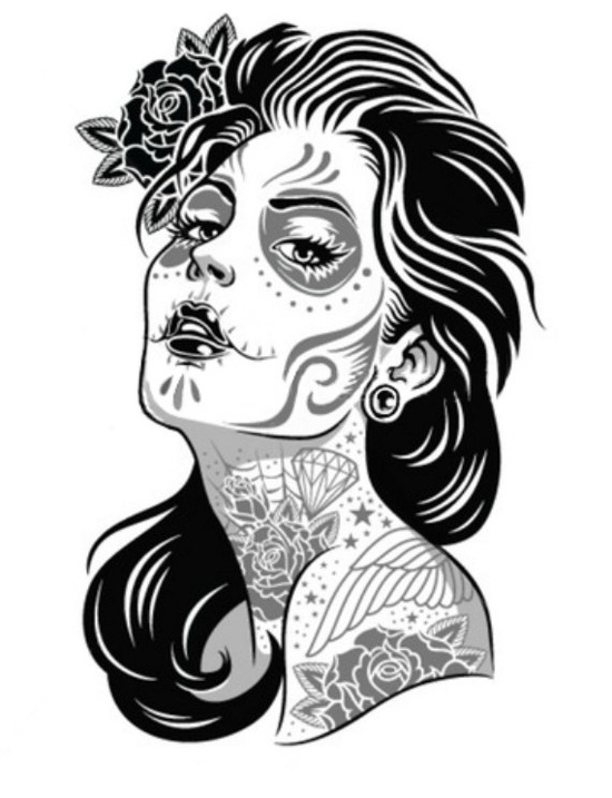 550x717 Day Of The Dead Girl Tattoo Flash